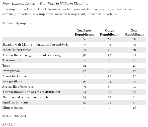 Importance of Issues to Your Vote in Midterm Elections, September 2014