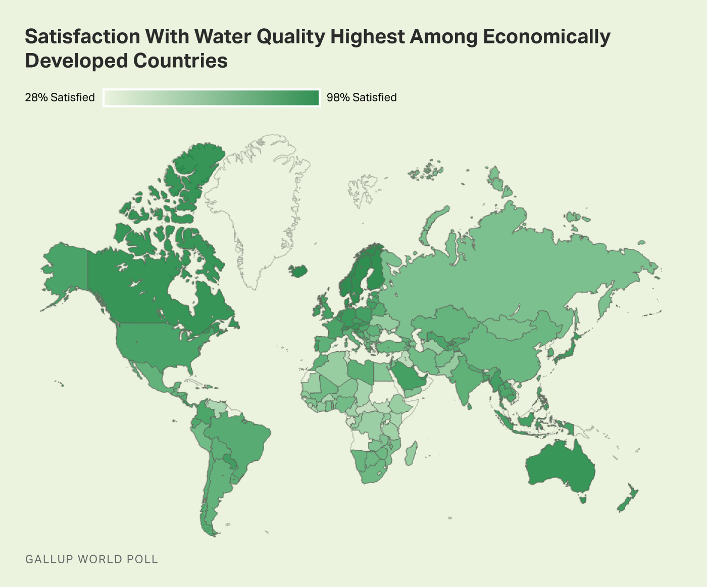 Alt text: Heat map showing the range in satisfaction with water quality by country worldwide.