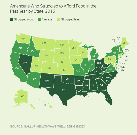 Americans Who Struggled to Afford Food in the Past Year, by State, 2015