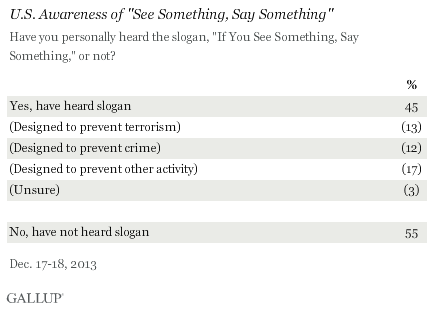 U.S. Awareness of See Something, Say Something