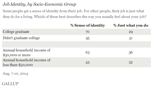 Job Identity, by Socio-Economic Group