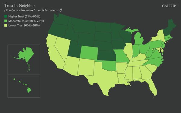 U.S. Map: Trust in Neighbor, by State