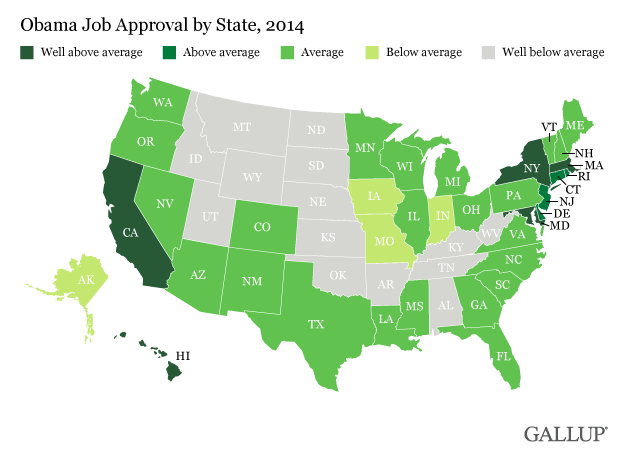 Obama Job Approval by State, 2014