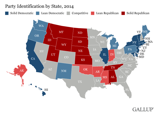 Party Identification by State, 2014