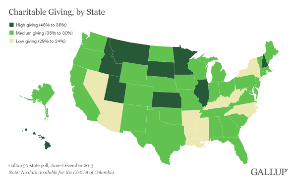 Map: Charitable Giving, by State, June-December 2013