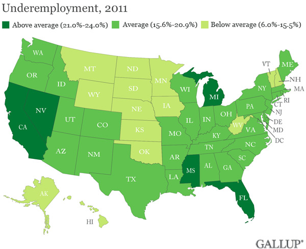 Underemployment 21 Or Higher In Five States In 2011