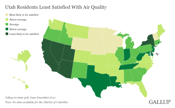 Map of Satisfaction With Area Air Quality, by State