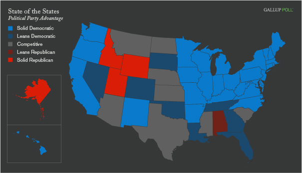 Political Party Affiliation 30 States Blue 4 Red In 2009