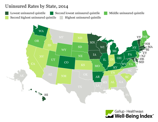 Uninsured Rates by State, 2014