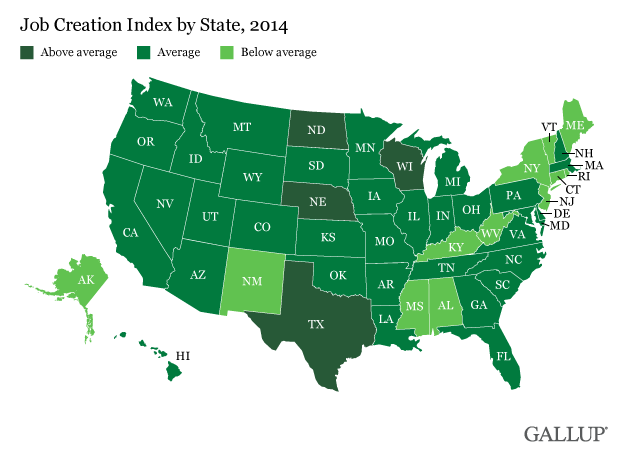 Job Creation Index by State, 2014