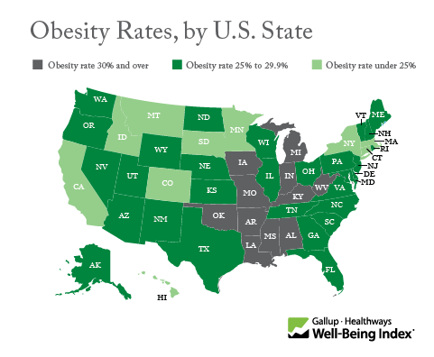 Obesity Rate, by U.S. State