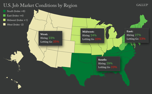 Map: U.S. Job Market Conditions by Region