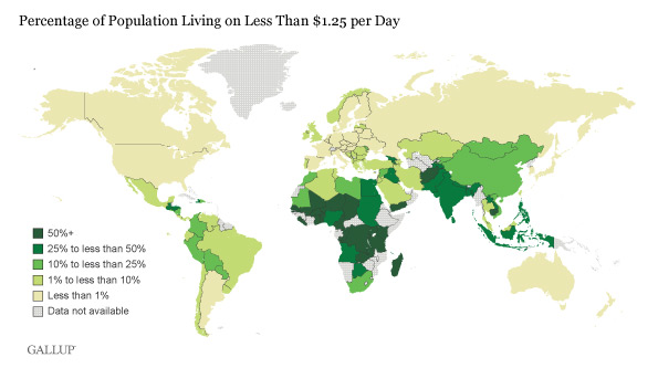 More Than One In Five Worldwide Living In Extreme Poverty - Extreme poverty map