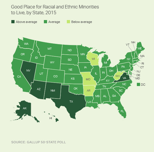 Good Place for Racial and Ethnic Minorities to Live, by State, 2015 (Map)
