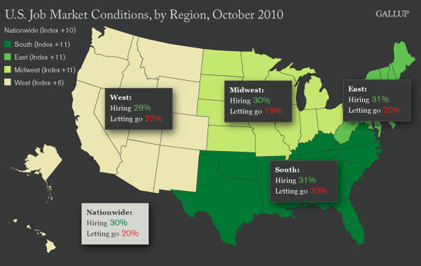 Map: U.S. Job Market Conditions, by Region, October 2010