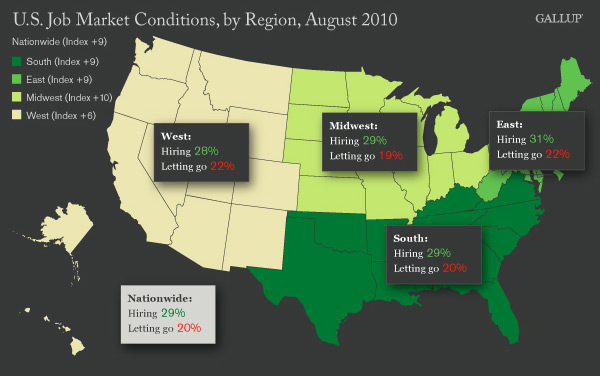 U.S. Job Market Conditions by Region (Map) and Nationally, August 2010