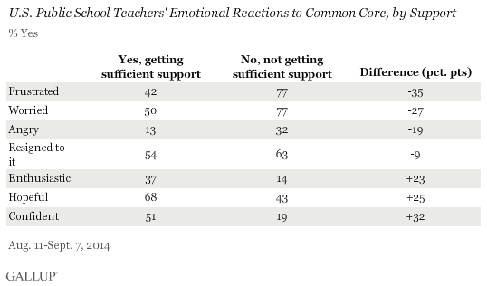 U.S. Public School Teachers' Views on Support in Regard to Common Core