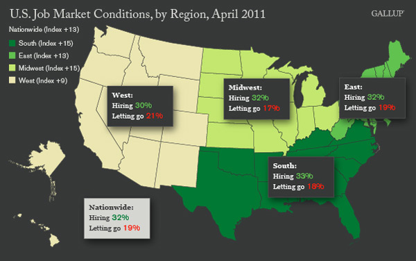 Map: U.S. Job Market Conditions, by Region, April 2011