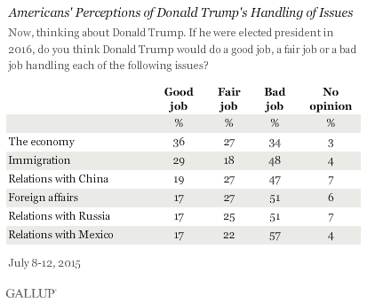 Americans' Perceptions of Donald Trump's Handling of Issues, July 2015