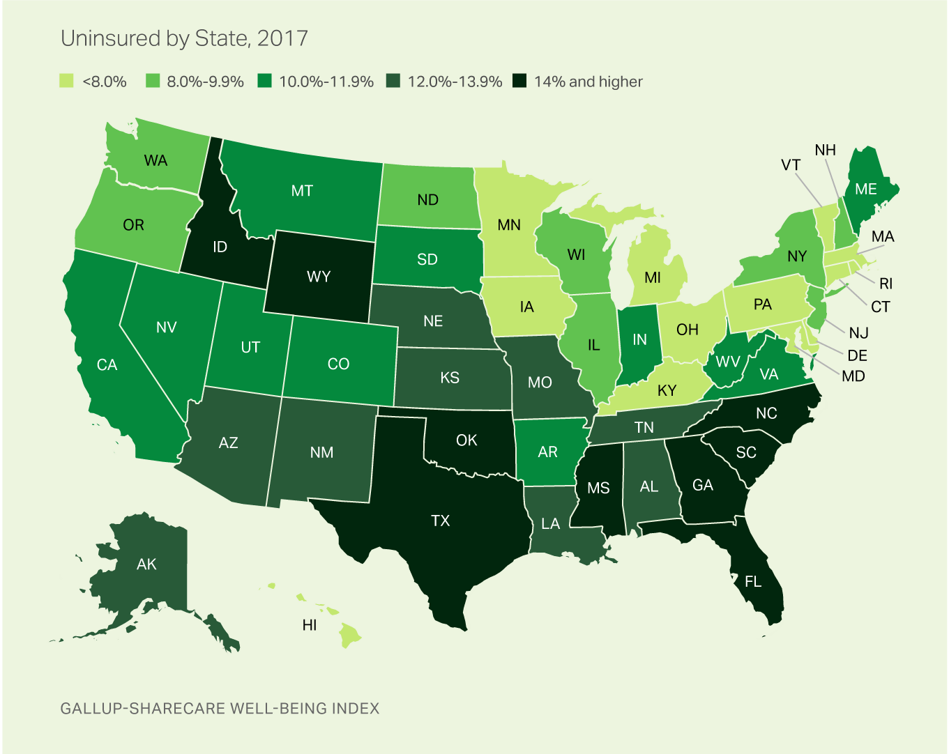 Medicaid Expansion States Map 2017.Uninsured Rate Rises In 17 States In 2017