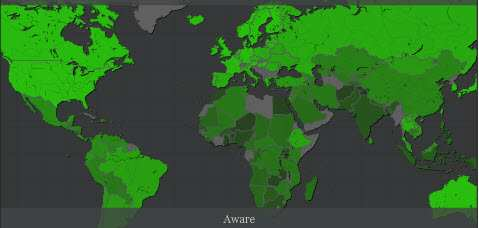 World Citizens' Views on Climate Change Map of World