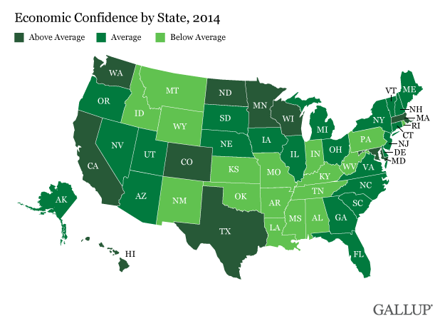 Economic Confidence by State, 2014