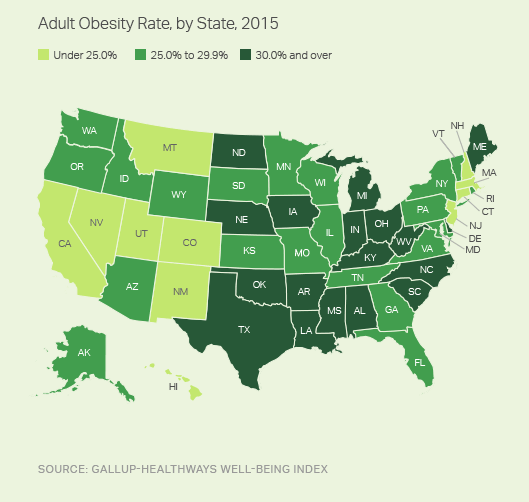 Adult Obesity Rate, by State, 2015