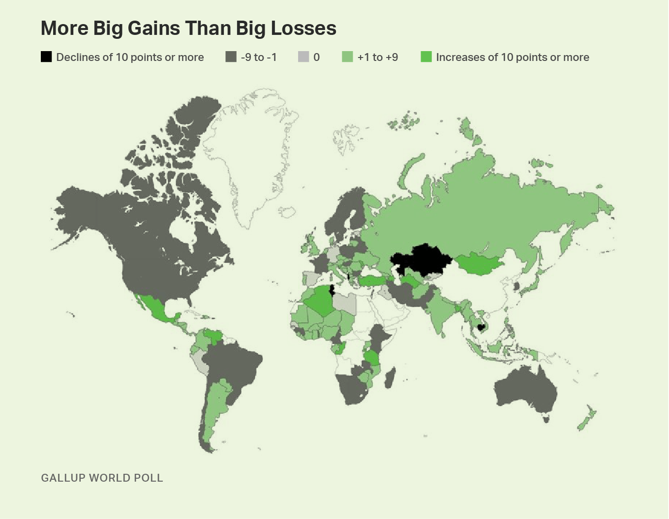 Heat map. Declines and increases in Chinese leadership approval around the globe.