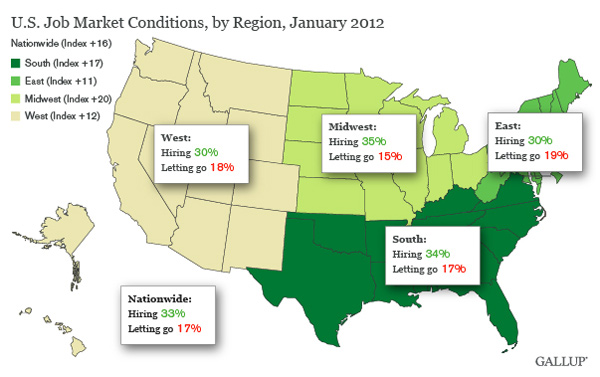 Map: U.S. Job Market Conditions, by Region, January 2012