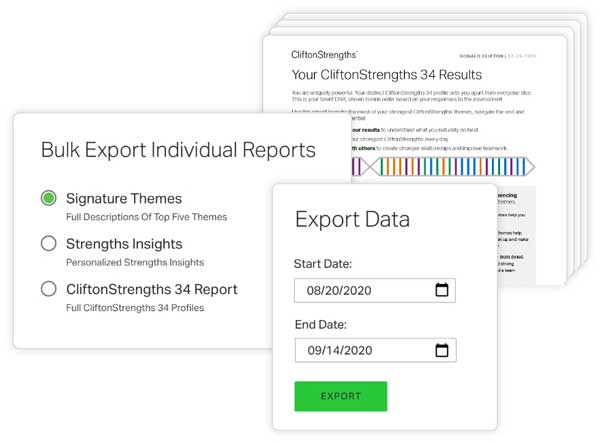 Example of Reports and Export Pages