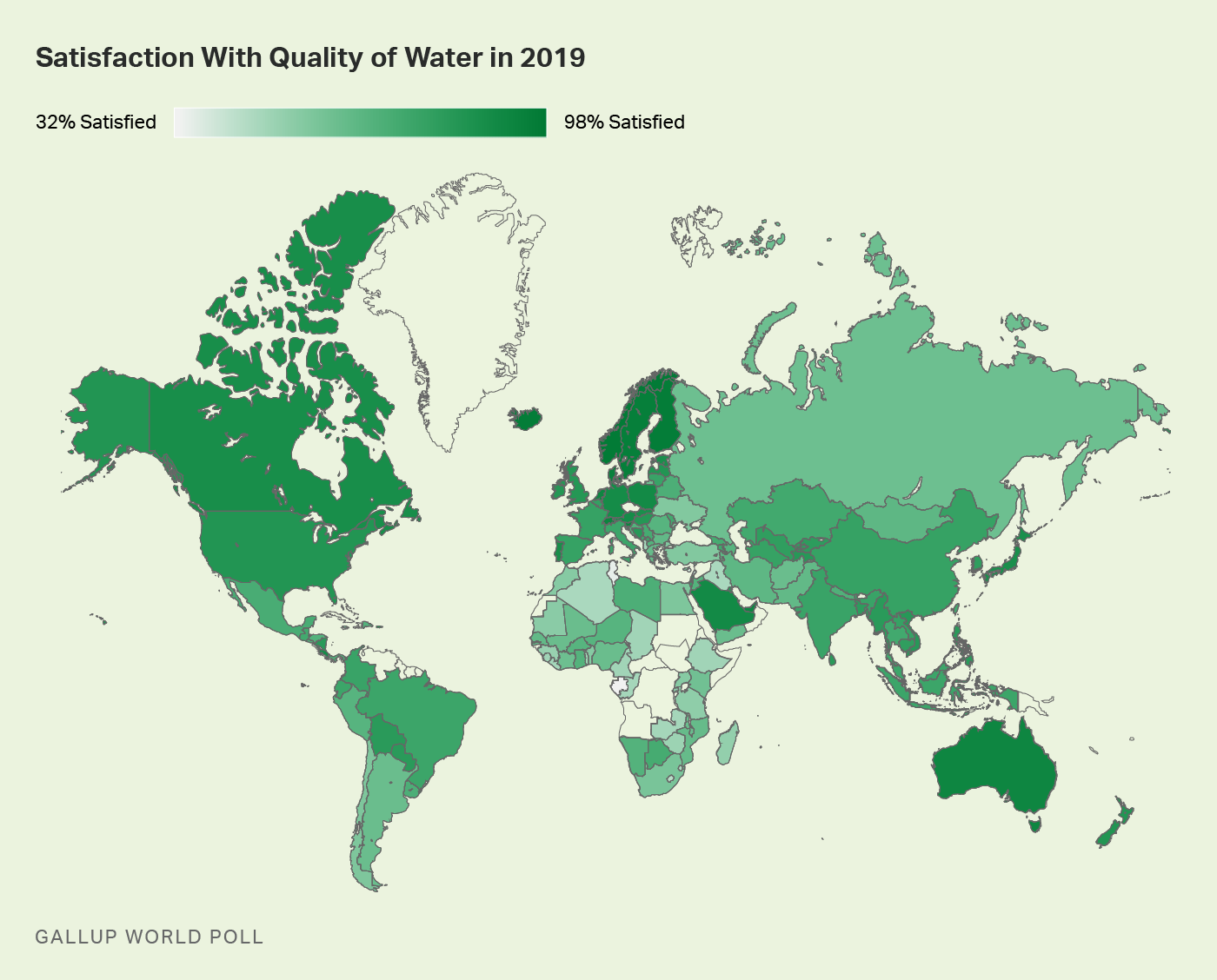 Worldwide satisfaction with water quality.