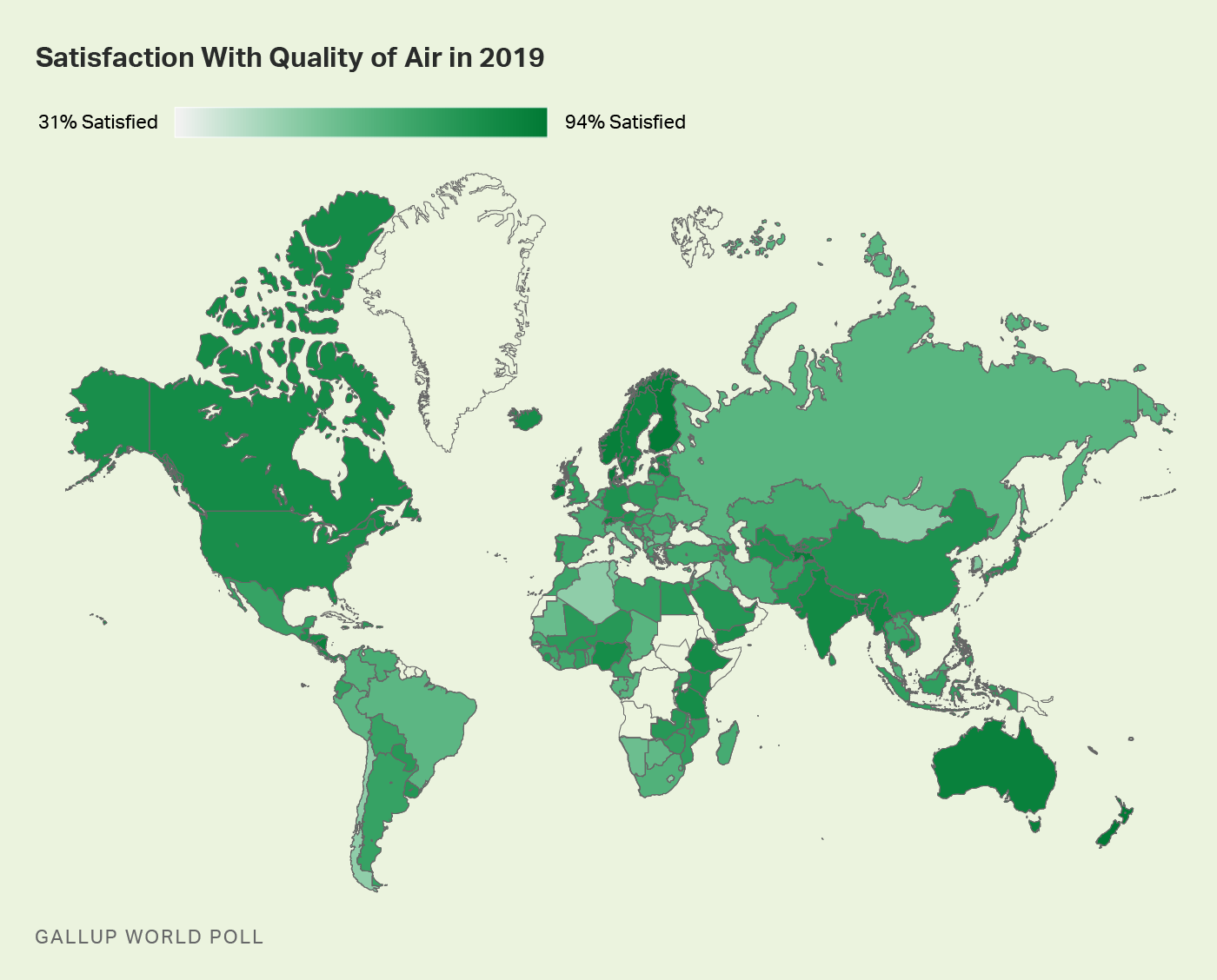 Worldwide satisfaction with air quality.