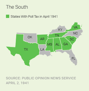 States With Poll Tax in April 1941