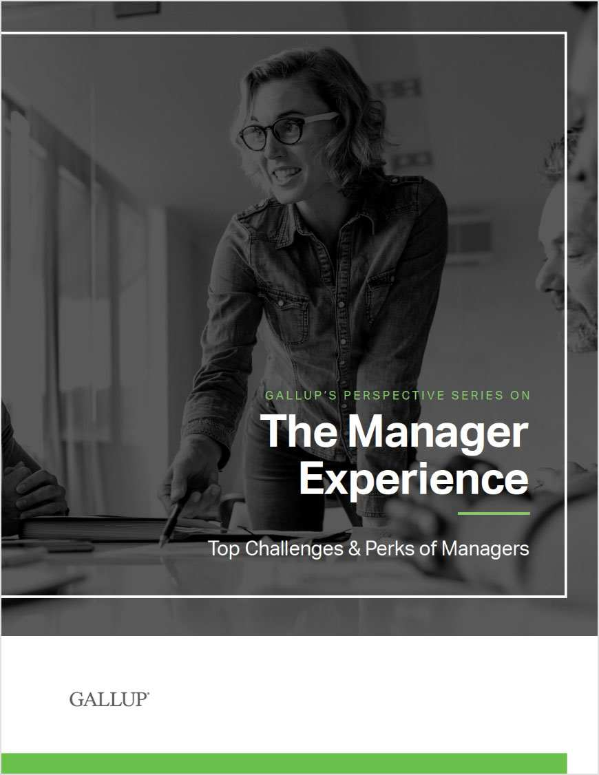 Report cover for The Manager Experience: Top Challenges & Perks of Managers, featuring a manager talking to a team member in a modern office.