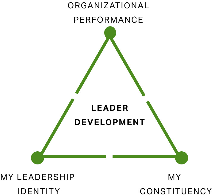 "A triangle graph with ""leadership development"" in the center, ""organizational performance"" at the top, ""my leadership identity"" at the bottom left, and ""my constituency"" at the bottom right."