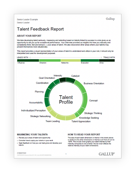Gallup's leadership talent feedback reporting, featuring shades of green that describe a leader's talent profile.