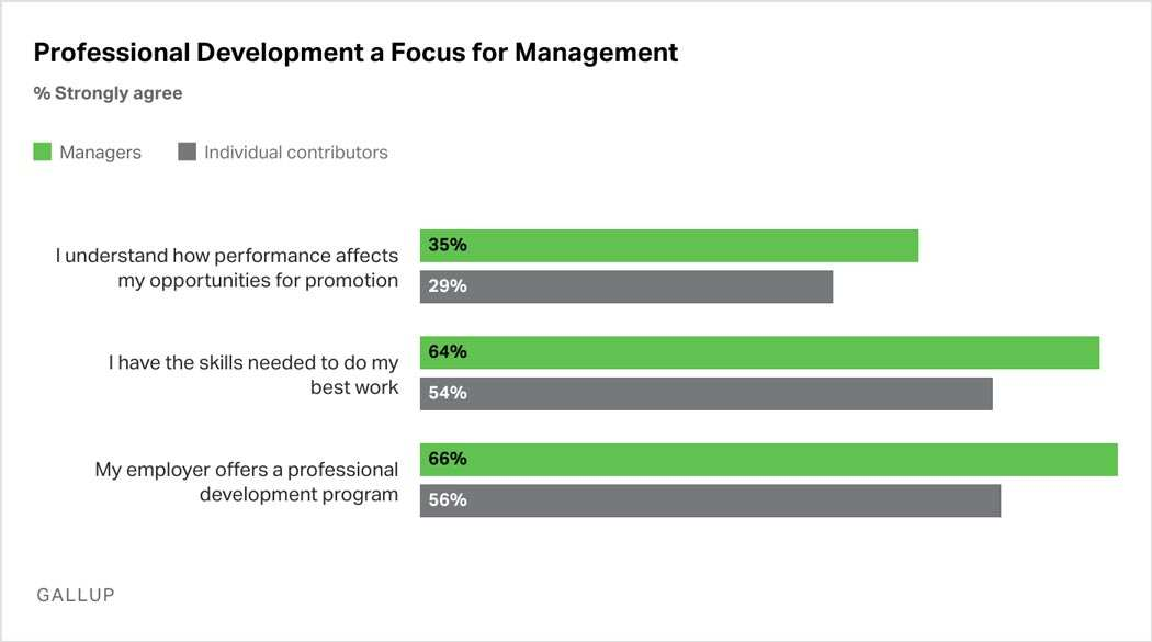Bar Graph: More managers than individual contributors agree that they understand how performance affects their opportunities for promotion, that they have the skills needed to do their best work, and that their employer offers a professional development program.