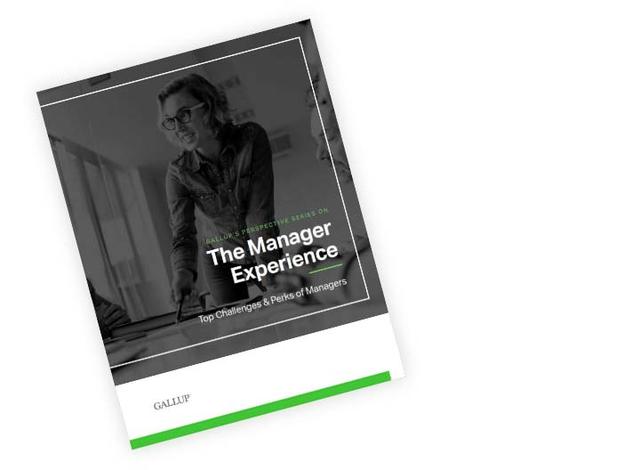 Front cover of Gallup's perspective paper, titled The Manager Experience: Top Challenges & Perks of Managers.