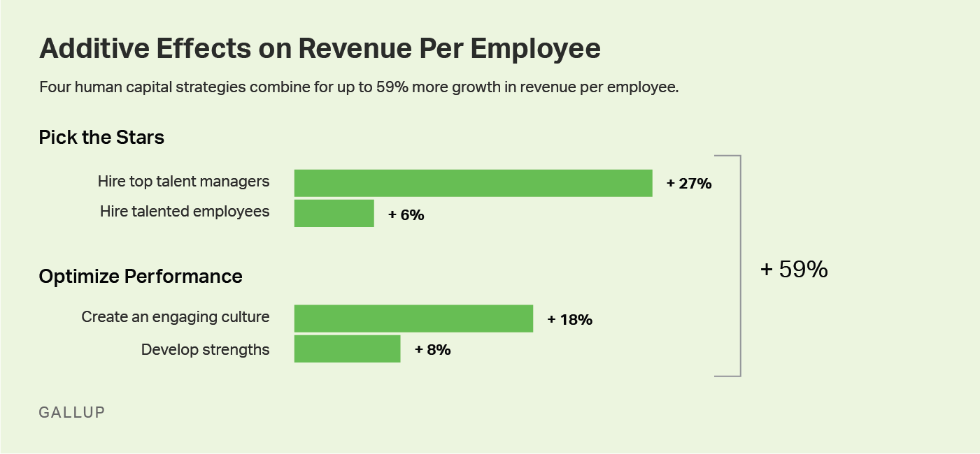 Use four human capital strategies that combine for up to 59% more growth in revenue per employee.