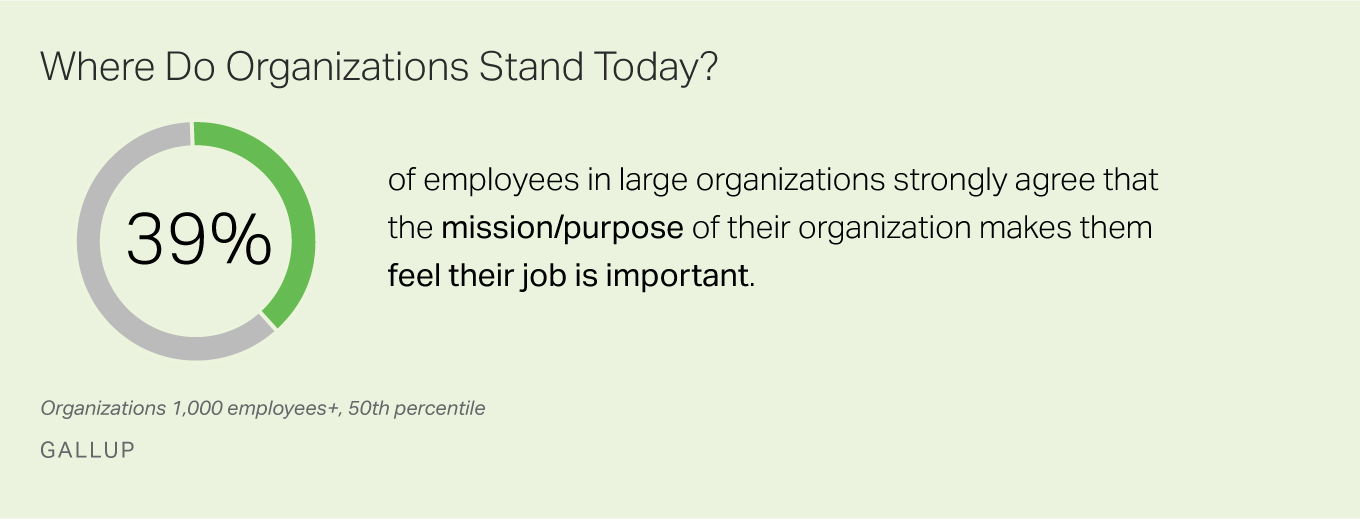 39% of employees say that the mission or purpose of their organization makes them feel their job is important.