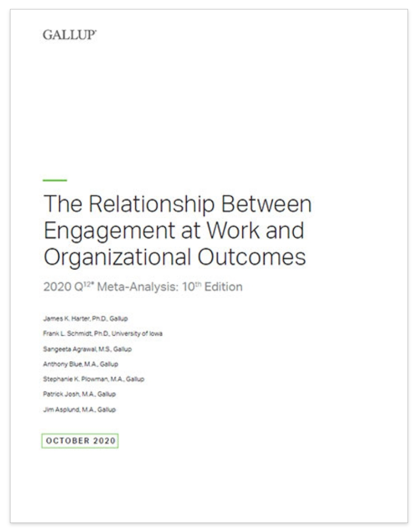 Report cover for Gallup's Meta Analysis of The Relationship Between Engagement at Work and Organizational Outcomes