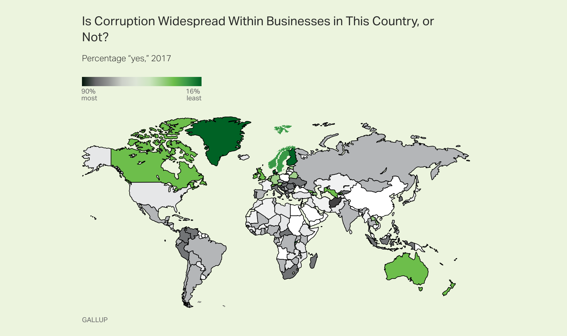 World map: Is corruption widespread within businesses in this country or not?