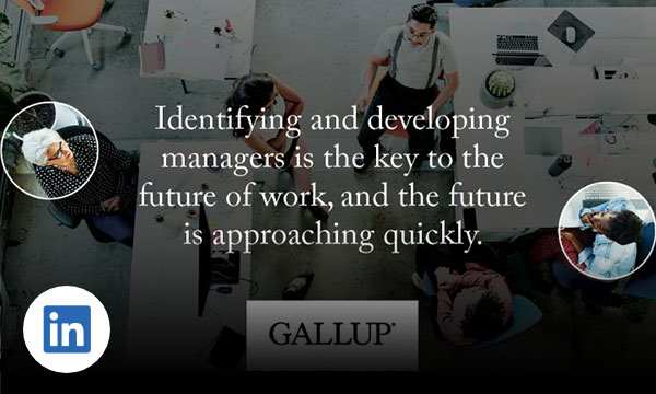 Managers around a table and with text identifying and developing managers is the key to the future of work, and the future is approaching quickly.