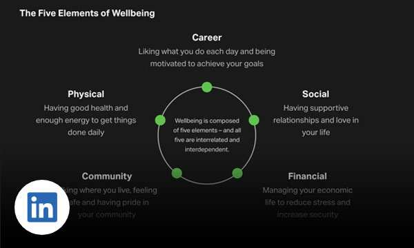 The five elements of wellbeing in a circle includes career, social, financial, community and physical.