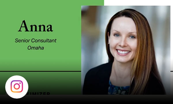 Anna senior consultant in Omaha with text maximizer, relator, woo, positivity, achiever.