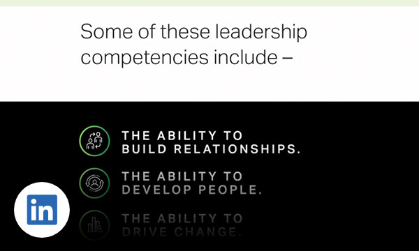 Three Icons with text some of these leadership competencies include the ability to build relationships, the ability to develop people, the ability to drive change.