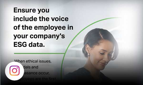 Professional woman looking down at her phone with text ensure you include the voice of the employee in your company's ESG data.