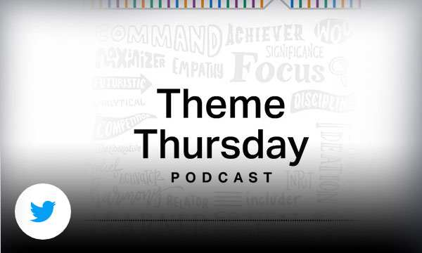 CliftonStrengths branded background with text theme Thursday podcast and audio bar running along bottom.