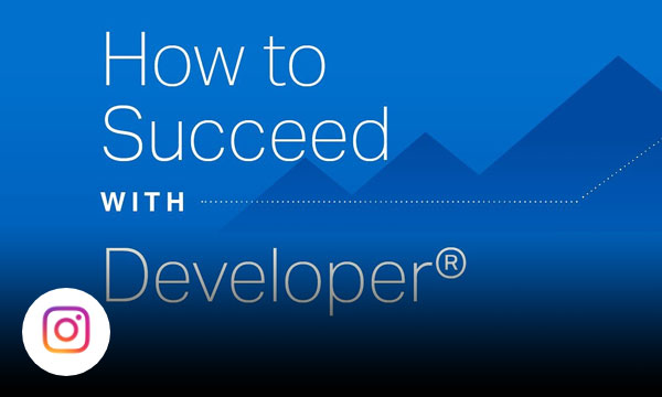 Blue background with whit text how to succeed with developer.