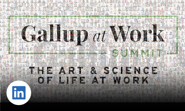 Black background with text join us next year Gallup at Work Summit June 7-8, 2022.